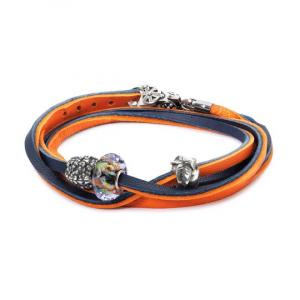 Trollbeads, Bracciale Cuoio Arancione/Blu