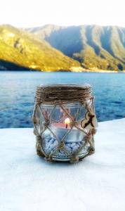 Portacandele - Candleholder Vetro e spago