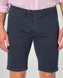 Bermuda chino blu scuro in gabardina di cotone stretch