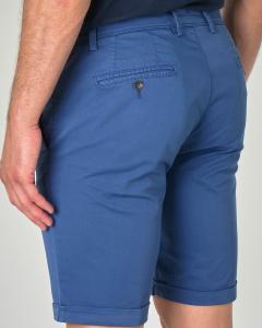 Bermuda chino blu indaco in gabardina di cotone stretch