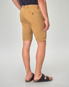 Bermuda chino cammello in gabardina di cotone stretch