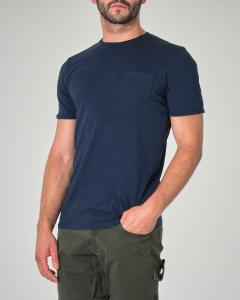 T-shirt blu in cotone fiammato con taschino
