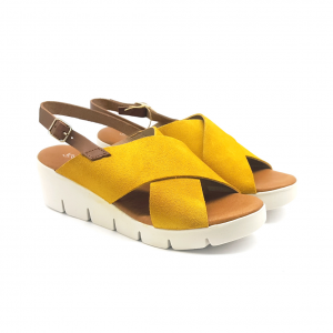 Sandalo cuoio/giallo Raquel Perez