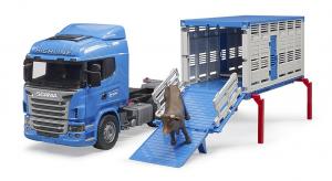 BRUDER 03549 - Camion trasporto animali Scania Serie R + Mucca (02308)