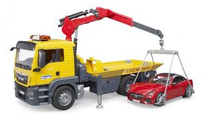 BRUDER 03750 - Camion di soccorso stradale MAN TGS con Roadster + Lampeggianti (02802)
