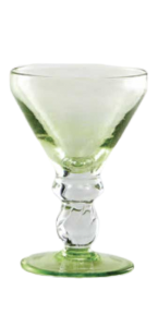 Glass blown Ice cream cup grit Lemon Green(6pcs)