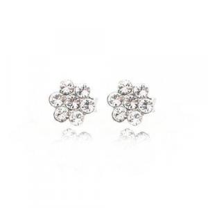 By Simon - Orecchini in argento 925/°° a forma di fiore con cristalli swarovski, art: 1101973