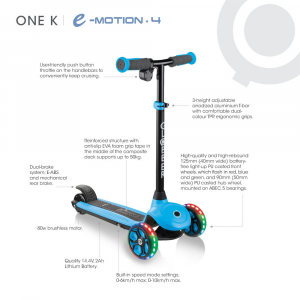 Monopattino Elettrico One K E-Motion 4 Sky Blu