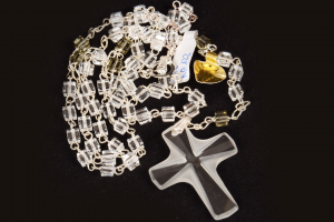 Rosario in argento e cristallo