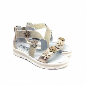 Sandalo platino con listini incrociati Nero Giardini