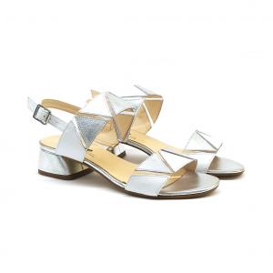 Sandalo bianco con motivi geometrici Melluso