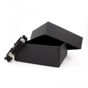 Bracciale elastico in Onice e Metallo Brunito - DOUBLE - One