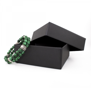 Bracciale elastico in Malachite e Metallo Brunito - DOUBLE - Five
