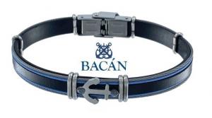 Elegante bracciale da uomo in cuoio marrone, blu o nero piatto con anelli e disegni con temi marinari in acciaio