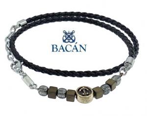 Elegante bracciale da uomo in treccia di cuoio blu o marrone e bits in acciaio e pietre naturali