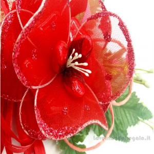 Centrino natalizio rosso ad uncinetto 24x31 cm e Fiori confetti Sulmona - Handmade - Italy