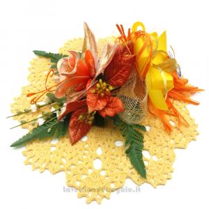 Centrino giallo ad uncinetto 29 cm e Fiori confetti Sulmona - Handmade - Italy