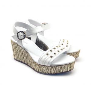 Sandalo bianco con zeppa corda Nero Giardini