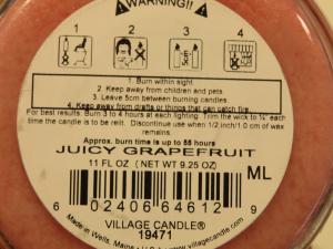 Candela Village Candle Juicy Grapefruit 105 ore