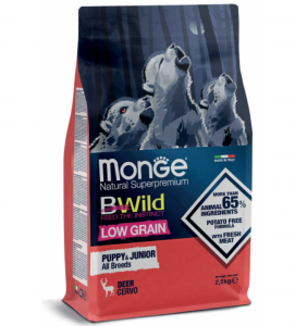 Monge - BWild Low Grain - All Breeds - Puppy&Junior - Cervo - 2.5 kg