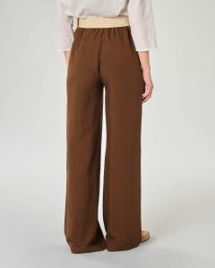 Pantaloni palazzo color testa di moro in viscosa misto lino