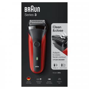 Braun Series 3 300 s Rasoio Elettrico Ricaricabile, Rasoio Da Barba Per Uomo, Rosso