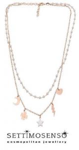 Elegante girocollo in argento rose'  925 con perline di pietra bianca e ciondoli