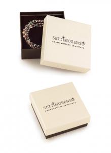 Bracciale in argento rose' 925 con perline di pietra bianca e ciondoli