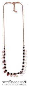 Girocollo in argento rose' con spinelli neri e  ciondoli a stella
