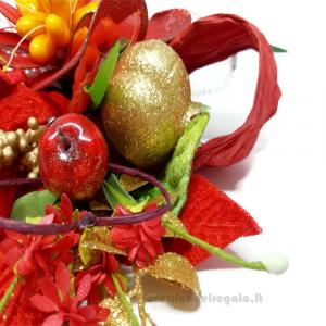Centrino natalizio ad uncinetto 35x29 cm e Fiori confetti Sulmona - Handmade - Italy