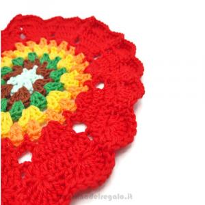 Centrino colorato ad uncinetto 16,5 cm. Handmade - Italy