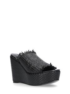 Sandalo zeppa pelle intrecciata nero STRATEGIA