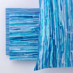 Completo lenzuolo copriletto Sea Riga Multicolor Blu Puro Cotone