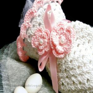 Portaconfetti bianco e rosa ad uncinetto 9x13,5 cm - Sacchetti battesimo