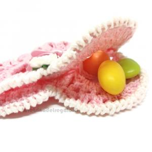 Portaconfetti cuore rosa ad uncinetto 12x10 cm - Sacchetti battesimo