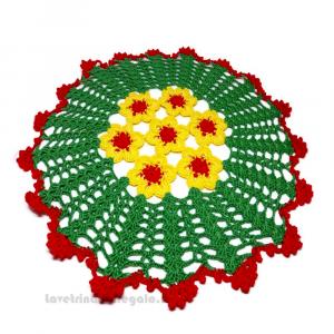 Centrino verde, giallo e rosso ad uncinetto 30 cm Handmade - Italy