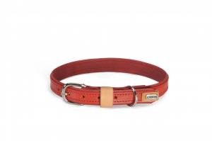 Collare per cani in cuoio foderato rosso  Camon