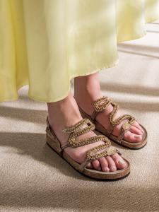 Sandalo in pelle bronzo fondo sughero Strategia