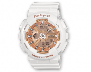 Casio BABY-G multifunzione, bianco dettagli oro rosa