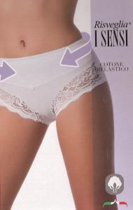 3 Slip donna contenitiva in cotone con pizzo RISVEGLIA I SENSI