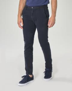 Pantalone chino blu in misto cotone e lino