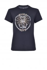 T-shirt Pinko love con stampa àncora