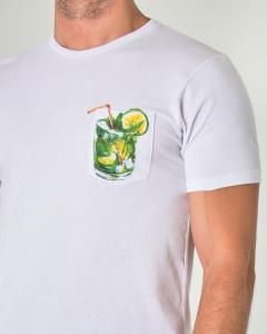 T-shirt bianca mezza manica con taschino e mojito stampato