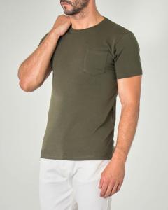 T-shirt verde militare mezza manica con taschino