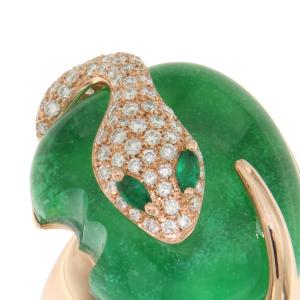 Anello in oro rosa, diamanti, giada e smeraldi