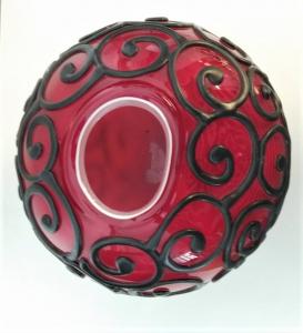 Vaso in vetro rosso, con silicone. Bloom, Memento
