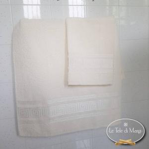 Coppia asciugamani Grece panna