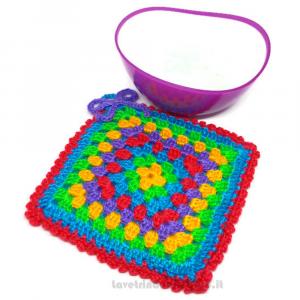 Presina quadrata multicolore ad uncinetto 15x15 cm Handmade - Italy