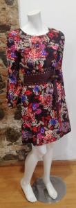 Vestito a fiori bordeaux - LuckyLu - Primavera Estate 2019