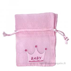 Portaconfetti Rosa con corona 9.5x13 cm - Sacchetti battesimo bimba